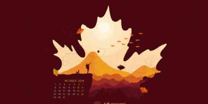 23 creativos fondos multipantalla, 10 con el calendario de octubre 2018