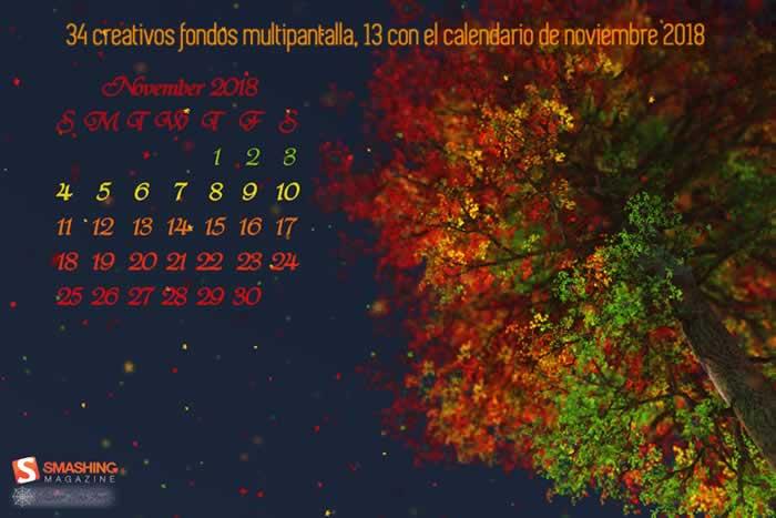 34 creativos fondos multipantalla, 13 con el calendario de noviembre 2018