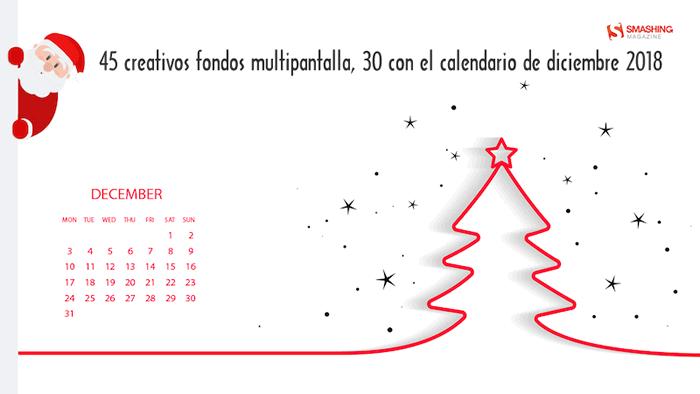 45 creativos fondos multipantalla, 30 con el calendario de diciembre 2018