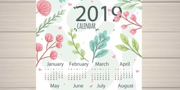 Más calendarios 2019 para descargar gratis e imprimir