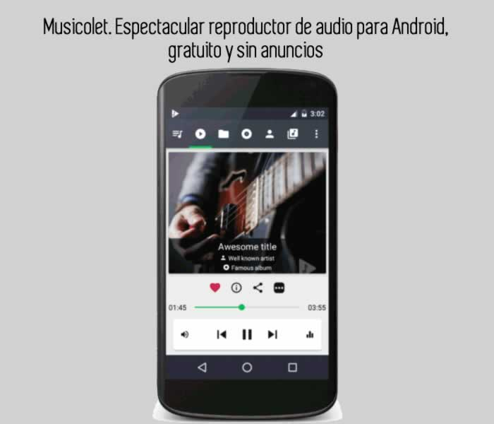 Musicolet. Espectacular reproductor de audio para Android, gratuito y sin anuncios