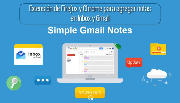 Extensión de Firefox y Chrome para agregar notas en Inbox y Gmail