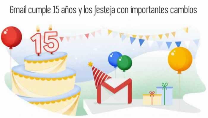 Gmail cumple 15 años y los festeja con importantes cambios