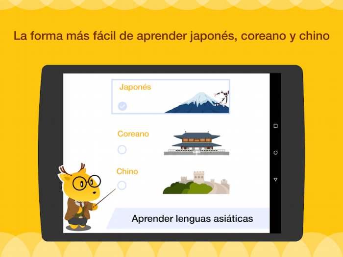 App para aprender inglés, coreano, japonés y chino