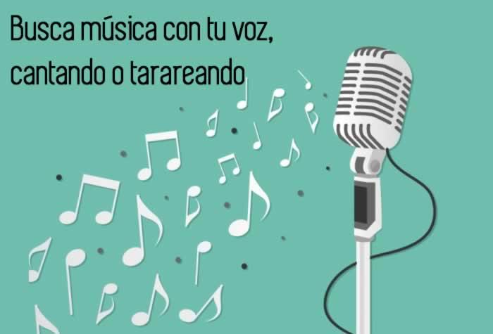 Busca música con tu voz, cantando o tarareando