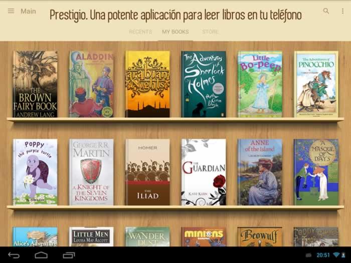 Prestigio. Una potente aplicación para leer libros en tu teléfono