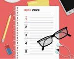 Plantilla gratuita para imprimir agenda de escritorio diaria y semanal año 2020
