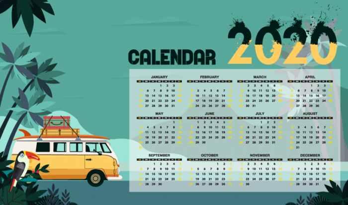 Más calendarios 2020 listos para imprimir