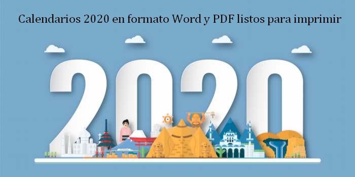 Calendarios 2020 en formato Word y PDF listos para imprimir