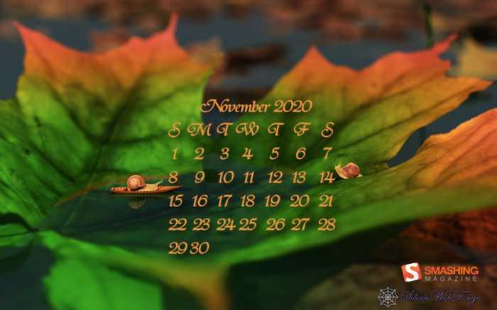 Fondos de pantalla con calendario noviembre 2020 + fondos Cambio climático