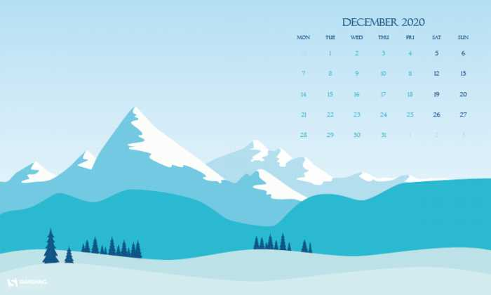 Fondos de pantalla con el calendario diciembre 2020 + fondos navideños