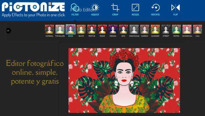Editor fotográfico online, simple, potente y gratis
