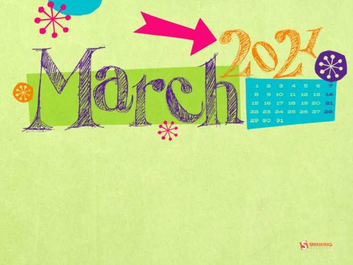 Fondos con el calendario marzo 2021 + fondos de arte digital