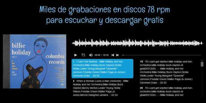 Miles de grabaciones en discos 78 rpm para escuchar y descargar gratis
